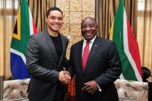 Trevor Cyril e1551969126758 300x199 - Pics: Trevor Noah In Parliament As President Cyril Ramaphosa's Guest